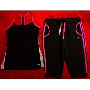 Victoria's Secret VSX Top & Adidas Capri Pants Set
